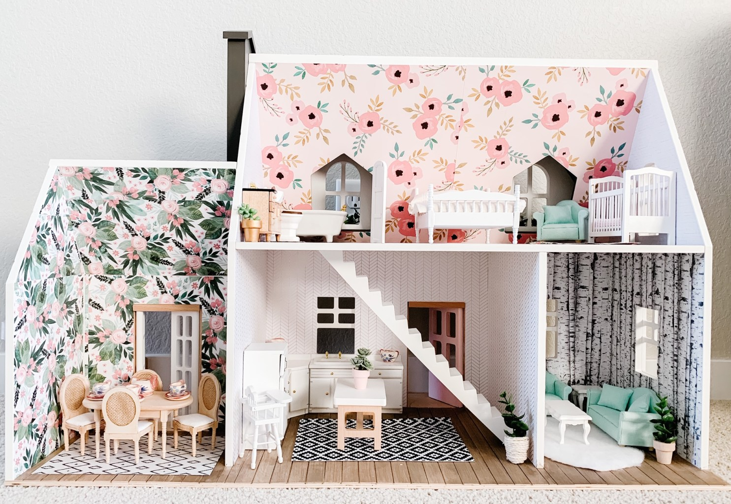 Target Hearth and Hand Dollhouse with wallpaper and wood flooring.