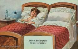 Postkarte Karikatur Schlafstelle Ehe