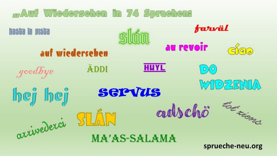 Auf Wiedersehen in 17 Sprachen