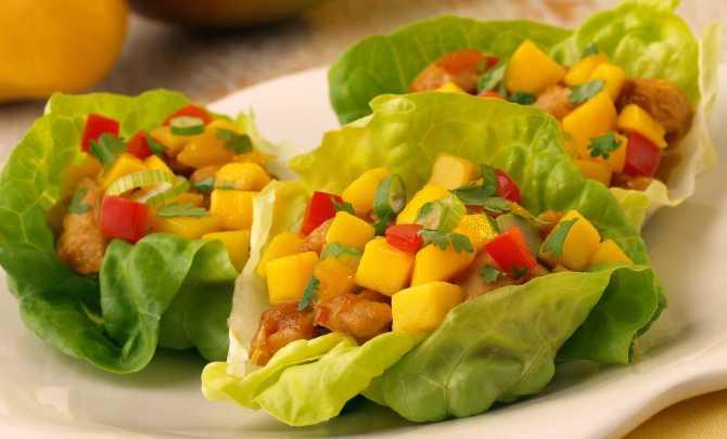 mango chicken wraps