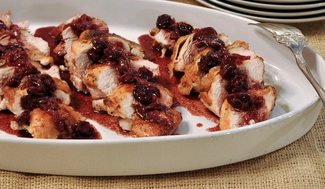 Chicken with Dried Cherries and Port