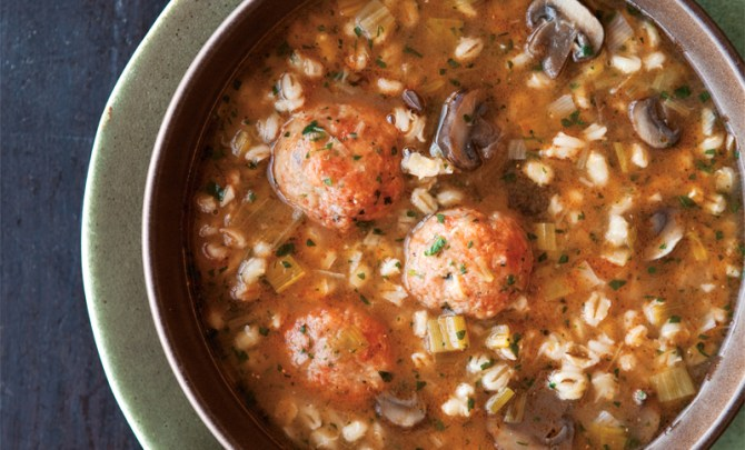 william-sonoma-soup-cookbook-barley-leek-soup-chicken-meatballs-diet-food-nutrition-health-food-spry