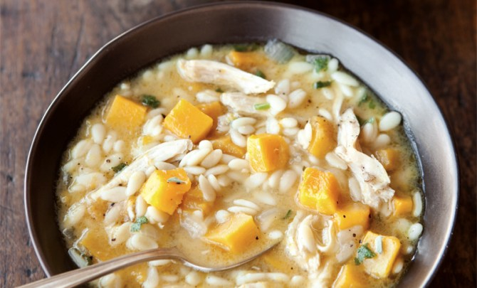 william-sonoma-soup-cookbook-orzo-delicata-squash-chicken-soup-diet-food-nutrition-health-food-spry