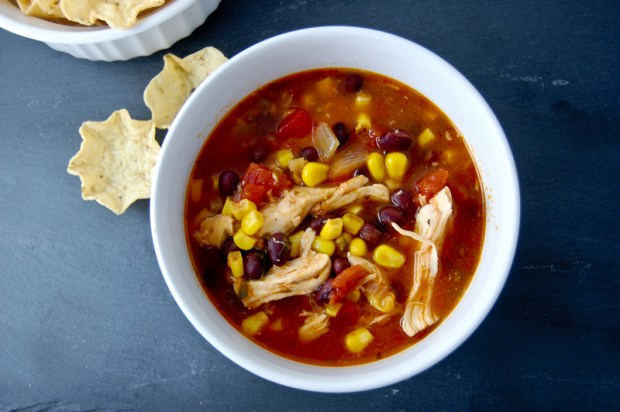 Chicken Enchilada Soup made in the Crock Pot or Slow Cooker.