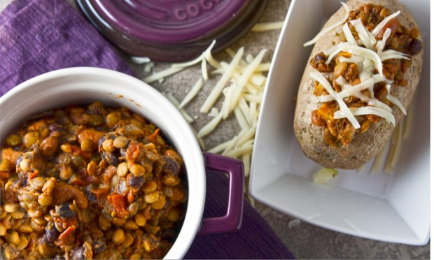 A Crock Pot recipe for Pumpkin Lentil Vegetarian Chili.