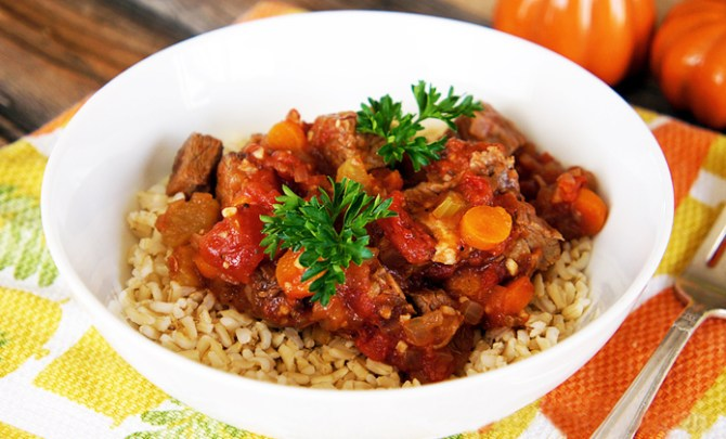 Healthy slow cooker recipe for Beef and Tomato Stew.