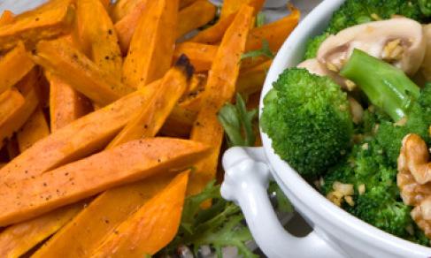 mollies_broccoli_salnut_salad_and_sweet_potato_batons