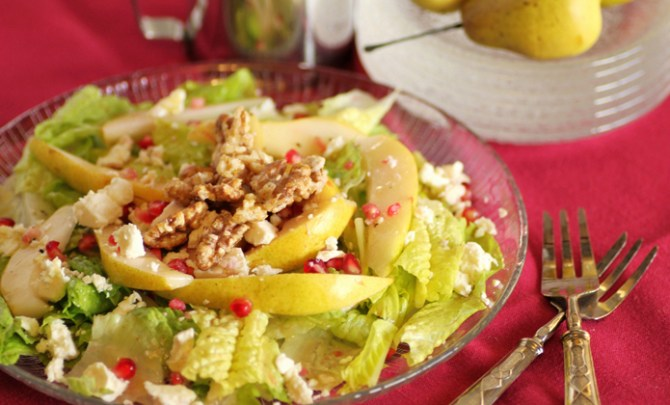 Rustic fall salad with pear, pomegranate and candied walnuts.