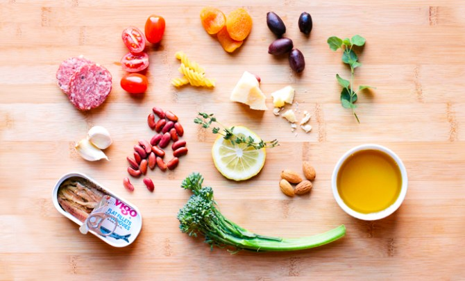 A list of health benefits and foods that are part of the Mediterranean Diet.