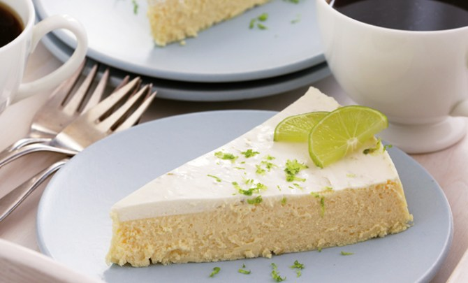 Crustless Ginger Cheesecake with Lime-Sour Cream Topping Atkins Diet recipe.