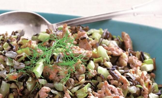 Sausage, Fennel, and Leek Wild Rice Pilaf Atkins Diet recipe.