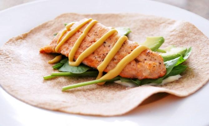 Healthy simple Salmon Wraps recipe.