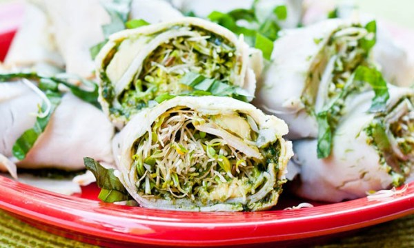 A gluten-free recipe for Turkey Avocado Lettuce Roll Up Wraps.