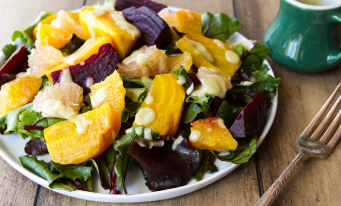 Recipe for Citrus Beet Salad with Creamy Avocado Lime Dressing.