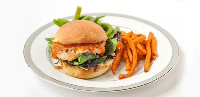 Peach BBQ Chicken Burger recipe.