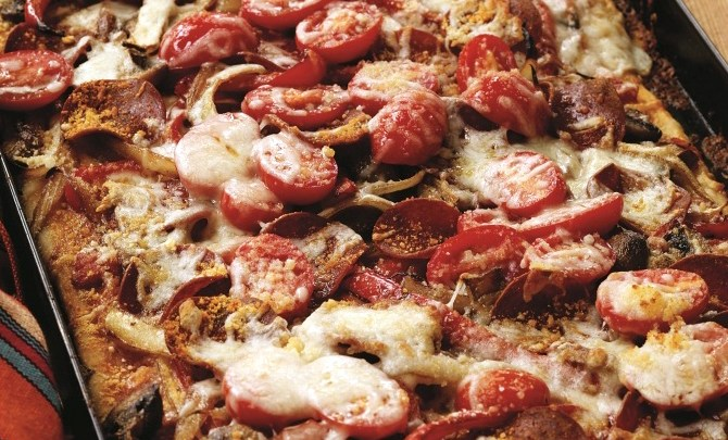 Cheesy Pepperoni-Mushroom Flatbread recipe.