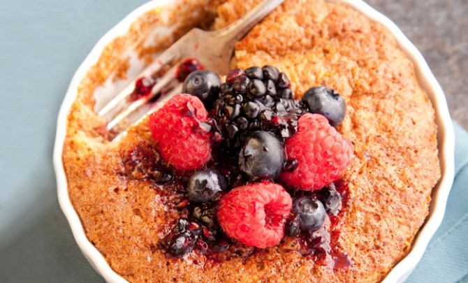 Flourless Mini-Almond Cakes With Mixed Berries recipe.