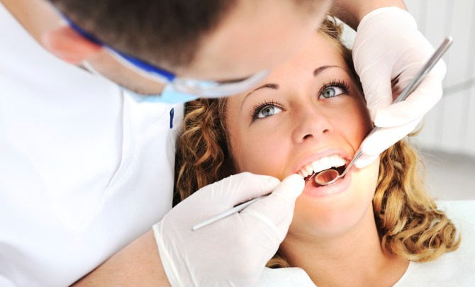 Woman at her dental visit.
