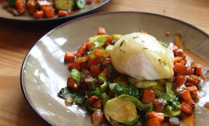 Sweet Potato & Brussels Sprouts Benedict