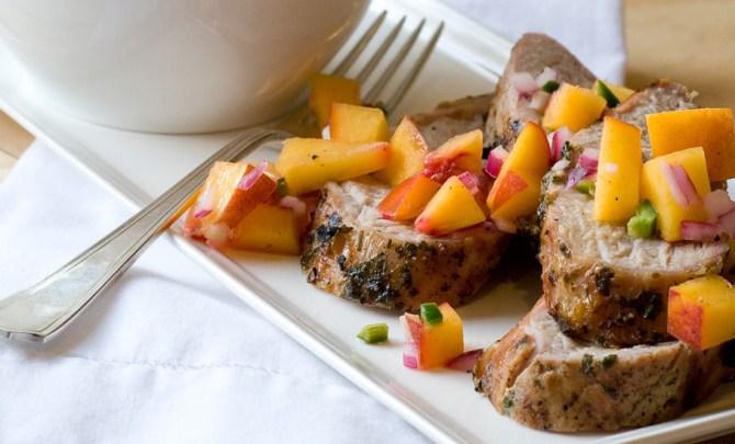 pork tenderloin and peach salsa