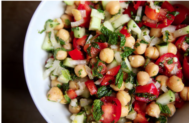 10 High-Protein Snacks for Busy Workdays | Chickpea Salad with Lemon-Mint Vinaigrette