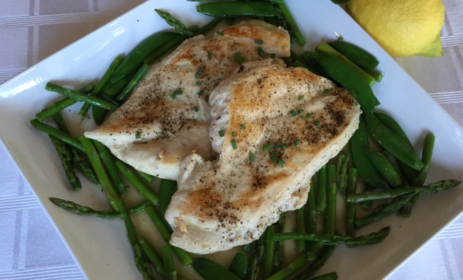 Chicken Paillard with Snap Peas and Asparagus (5)