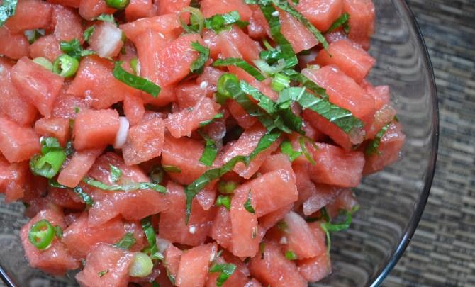 Watermelon, Mint and Chili Salad