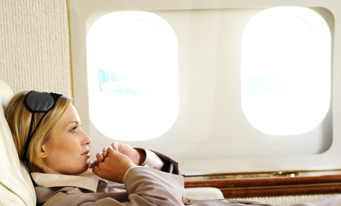 relaxing in airplane