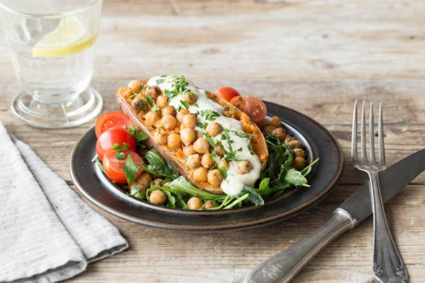 Roasted Sweet Potato Boats with Crispy Spiced Chickpeas, Lemony Hummus, and Arugula Salad