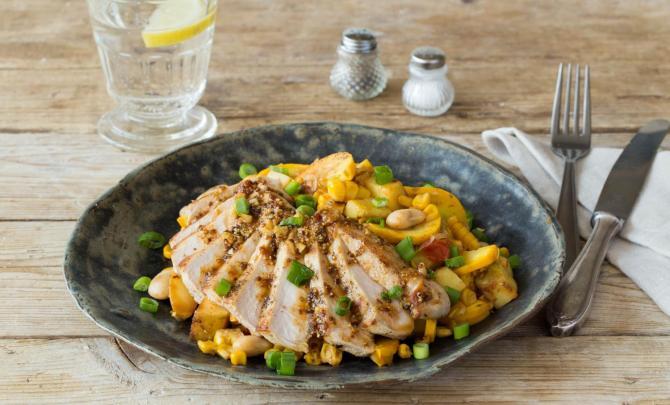 Honey Dijon Pork Chops with Summer Squash, Lima Bean, and Corn Hash
