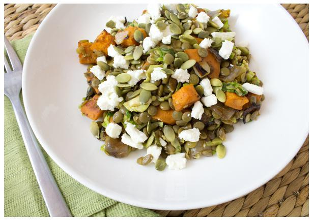 Spry Living Recipes|Warm French Lentil Salad with Honey Roasted Sweet Potatoes