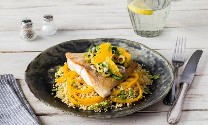 Pan-Seared Mahi Mahi and Citrus-Herb Salad with Whole Wheat Couscous and Caramelized Bell Pepper