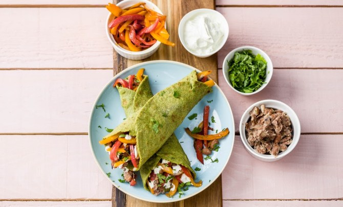 Fiery Pork Fajitas with Blistered Peppers and Guacamole