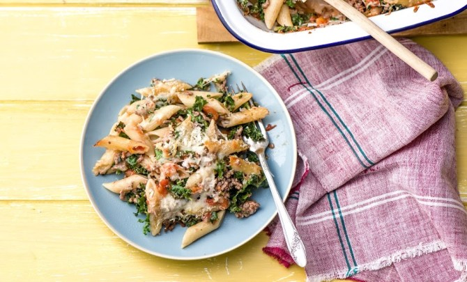 Lasagna Baked Penne with Kale and Mozzarella