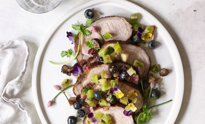 Chipotle Pork Loin with Blueberry-Kiwi Salsa