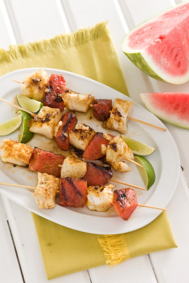 Curried Fish and Watermelon Kabobs