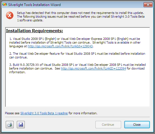 Can't Install on VS 2010
