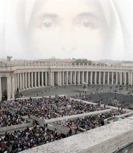 People mill about the Vatican prior to the canonization of Saint Mother Theodore Guerin in October 2006. The process for Mother Theodore Guerin's Cause began in 1909.