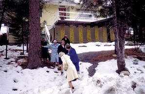 Sisters try to negotiate the slick spots after a snow at St. Michael Province near Lake Arrowhead, Calif., in 1981.