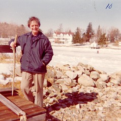 Sister Ruth Johnson finds an ice-free spot on Lady Isle, Portsmouth, N.H., in this 1979 photo.