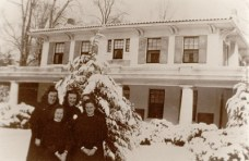 Sisters of Providence gather outside the Maryhurst convent in Rockville, Md., in this circa 1945 photo. Pictured are a former Sister of Providence, Sister Ann Francis Hammersley, Sister Joan Matthews, Sister Anne Scott and a former Sister of Providence.