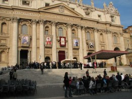 The banners representing each person being canonized hung from St. Peter's. Mother Theodore is to the right.
