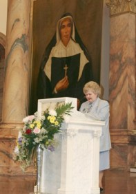Kathy Fleming reads from Mother Theodore's letters during the ceremony.