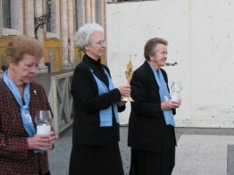 The three former general superiors, Sisters Nancy Nolan, Ann Margaret O'Hara and Diane Ris, carry relics in the procession.