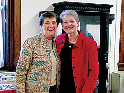 Sister Jane Marie Osterholt (left) poses for a photo with Providence Associate Patricia Gill.