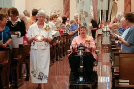 Sisters Rosemary Schmalz and Linda Kaliker, both golden jubilarians, process in at the beginning of the liturgy.