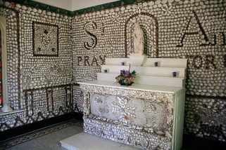 Inside, the walls are covered in shells, mostly from the local Wabash River.