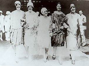 Young women at South Station in Boston are about to board the train in 1929 to enter the Sisters of Providence. (They are, from left to right, Sister Mary Regis O'Kane, Sisters Ann Bernardine Dunne, Cyril Tobin, Philip Conlon and Mary Patricia Carroll.)
