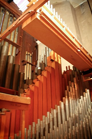 The pipes of the organ come in all shapes and sizes.