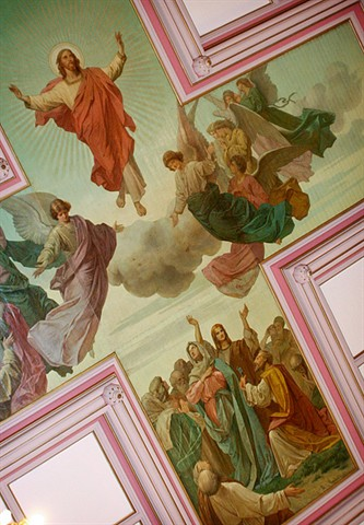 Many churches have paintings on the ceiling that depict the sky, almost as if the roof were not there at all and we were looking up into the heavens.